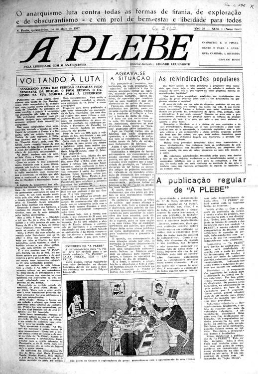 A Plebe – São Paulo, número 1, nova fase, 1º de maio de 1947. Acervo do AMORJ, coleção ASMOB.
