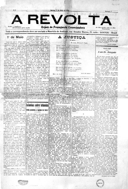 A Revolta – Santos, número 7, 1º de maio de 1914. Acervo do AMORJ, coleção ASMOB