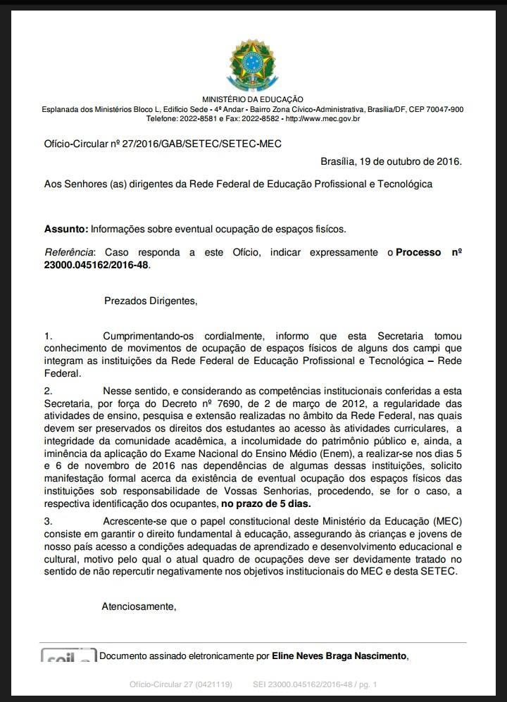 Ofício Circular n°27/2016/GAB/SETEC/SETEC-MEC / PROCESSO N° 23000.045162/2016-48 - Data: 19 Outubro 2016